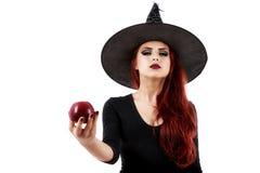 Knepig häxa som erbjuder ett förgiftat äpple, allhelgonaaftontema Arkivfoto