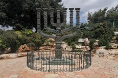 Knesset Menorah - Jerusalem. Knesset Menorah in front of the Knesset in the Park of Roses in Jerusalem Royalty Free Stock Photo