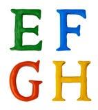 Knetmassebuchstaben. Stockfoto