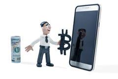 Knetmassegeschäftsmann wählt bitcoin Stockfoto