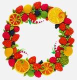 Knetmassekranz von Zitrusfrüchten und von Beeren Stockbilder