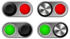 Knevelschakelaars met groen en rood lichten Royalty-vrije Stock Foto