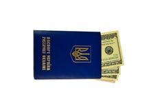 Kniaź cudzoziemski paszport z sto dolarami odizolowywającymi dalej zdjęcie royalty free