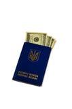 Kniaź cudzoziemski paszport z sto dolarami odizolowywającymi dalej zdjęcia stock