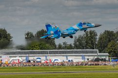 Kniaź SU-27 pokaz podczas Radomskiego pokazu lotniczego 2013 Obraz Stock
