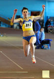 Kniazeva Anna wins the triple jump royalty free stock photography