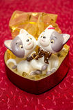 Knick-knack cats. Two funny cats made from ceramic,knick-knack Stock Photography