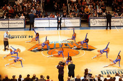 Knicks Cheerleaders. The New York Knicks cheerleaders in shorts doing their show in the New York Knicks against the Indiana Pacers Basketball game inside Madison Royalty Free Stock Photography
