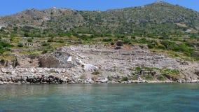 Knidosamfitheater en majestueuze overzees, datca, Turkije stock videobeelden