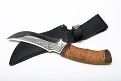 Knife. And sheath for removal of a skin on hunting Stock Images