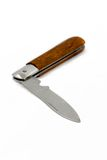 Knife. Open pocket knife with wooden grip Stock Photo