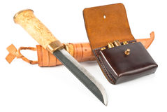 Knife and ammo. Knife and bandoleer with ammo for hunting over white Stock Image