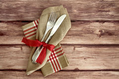 Knife And Fork On Wooden Background Royalty Free Stock Photos