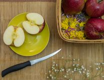 Knife, apples and dry flowers stock photo