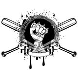 Knife bat knuckle_2. Vector illustration two crossed daggers and baseball bats. Frame of barbed wire and hand with brass knuckle. For tattoo or t-shirt design Royalty Free Stock Photos