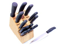 Knife Block. Isolated kitchen knife block used for trimming, and cutting meat and vegetables Royalty Free Stock Images
