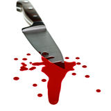 Knife with blood. Red blood flows down from kitchen knife Royalty Free Stock Photography