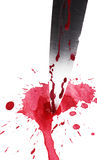 Knife in Blood. The blade of a bloodied knife set in a splatter of blood, isolated on a white background royalty free stock image