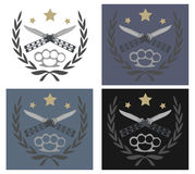 Knife and brass knuckle emblems. Color, no outline logo with 2 crossed knifes, brass knuckle and stars in laurel wreath. Different color backgrounds. Vector Stock Image
