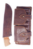 Knife and cartridge belt Stock Images