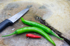 Knife and chilli Stock Images