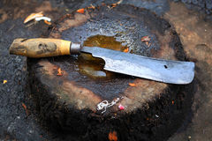 Knife and Chopping Block Royalty Free Stock Photography