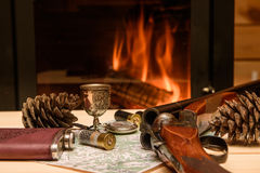 Knife Compass and map lie by the fire. Royalty Free Stock Photography