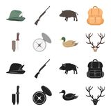 Knife with a cover, a duck, a deer horn, a compass with a lid.Hunting set collection icons in black,cartoon style vector. Symbol stock illustration Stock Image