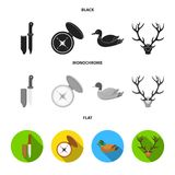 Knife with a cover, a duck, a deer horn, a compass with a lid.Hunting set collection icons in black, flat, monochrome. Style vector symbol stock illustration Stock Photos
