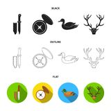 Knife with a cover, a duck, a deer horn, a compass with a lid.Hunting set collection icons in black,flat,outline style. Vector symbol stock illustration Royalty Free Stock Photography