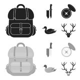 Knife with a cover, a duck, a deer horn, a compass with a lid.Hunting set collection icons in black,monochrom style. Vector symbol stock illustration Royalty Free Stock Image
