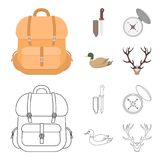 Knife with a cover, a duck, a deer horn, a compass with a lid.Hunting set collection icons in cartoon,outline style. Vector symbol stock illustration Stock Photography