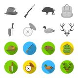Knife with a cover, a duck, a deer horn, a compass with a lid.Hunting set collection icons in monochrome,flat style. Vector symbol stock illustration Stock Photo