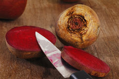 Knife cut beetroot Stock Images