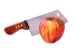 Knife cuts apple Stock Photo