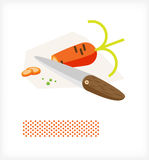 Knife cuts carrot A Stock Photo