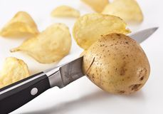Knife cuts fresh potatoes Stock Image