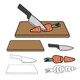 Knife Cutting Carrot on Wooden Board and Outline isolated on White Background. Vector Illustration. Stock Photo