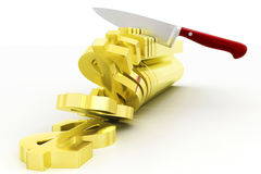 Knife Cutting Dollars Royalty Free Stock Images