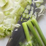 Knife with fennel. Royalty Free Stock Photo