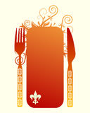 Knife, fork and banner Stock Photography