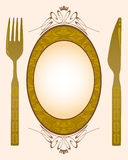 Knife, fork and banner stock illustration
