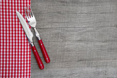 Knife and fork - bavarian country style table decoration on a wo Royalty Free Stock Image