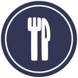 Knife and fork circular icon symbol. Illustrated knife and fork circular icon symbol stock illustration