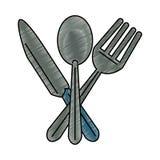 Knife and fork crossed scribble. Knife and fork crossed symbol vector illustration graphic design vector illustration