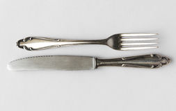 Knife and fork - cutlery, silver flatware set Stock Image