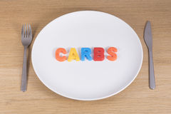 A knife, fork and empty plate with the word carbs. A metal knife, fork and empty white plate with the word carbs written in colourful toy learning letters and Royalty Free Stock Photography