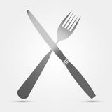 Knife and fork isolated on white background. For design in the restaurant business royalty free illustration