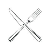 Knife and fork, isolated on white background Royalty Free Stock Image