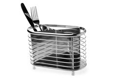 Knife and fork in metal stand Royalty Free Stock Photo